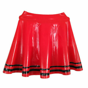 Gummi rubber Handmade Latex Skirts Uniform Red Black Stripe Sexy Sports Club Dre