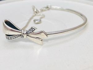 Authentic Pandora CZ Brilliant Bow Slider Bracelet Bangle Size 3 597242