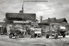1921 DOME OIL GAS STATION MARYLAND 12X18 PHOTO TRAIN CAR GAS TRUCK FORD MODEL T