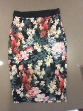 Forever New Long Floral Fitted Skirt Size 8 Pre Owned In Excellent Condition