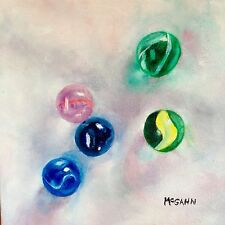 Original Oil On Canvas By Artist- Glass Marbles 6 In Sunlight - 8x8 - $115