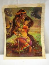 Vintage Lithograph Print Megha Shyama & Goatherd Boy & Girl With Campfire Rare*