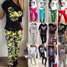 Women Ladies 2Pcs Tracksuit Hoodies Sweatshirt Pants Set Sport Wear Casual Suit
