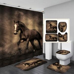 Brown Horse Shower Curtain Bath Mat Toilet Cover Rug Bathroom Decor