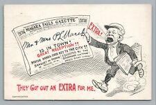 """""""Niagara Falls Gazette—Extra! Extra!"""" Antique Newspaper Comic News Boy 1909"""