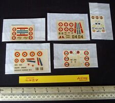 5 Unused 1960s Heller France Decals. Alouette, Alize, Vautour, Mirage. (A204)