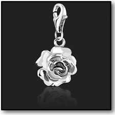 925 Sterling Silver Rose Clip on Charms for Charm Bracelets in 3D Bracelet