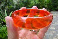 "Vintage 3/4"" Prystal Bakelite Bracelet! Dichromatic Neon Orange 2 Yellow Color!!"
