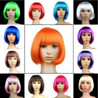 Women Ladies Real Natural Short Straight Hair Wigs BOB Style Cosplay Full Wig FK