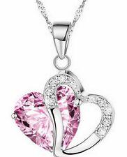 CH Fashion Women Heart Crystal Rhinestone Silver Chain Pendant Necklace Jewelry