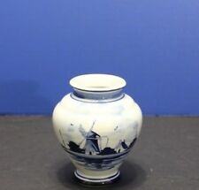 """Vintage Blue Delft Holland Hand Painted Small Vase 4.25"""" Tall"""