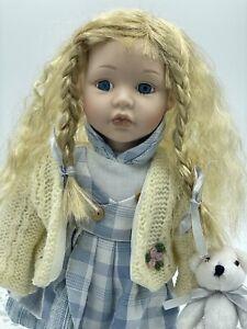 Vintage 1990s Fine Bisque Porcelain Doll Girl, Crimped Hair, Teddy Bear #61