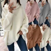 Womens Casual Oversize Turtleneck Sweater Pullovers Long Sleeve Knitwear Jumpers