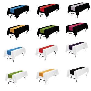 "LOVWY 60""x102"" / 60""x126"" Polyester Tablecloth + 12""x108"" Satin Table Runner"