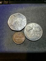 1992 Tanzania 20 Shillings, Elephant with Calf + 1980 Zimbabwe $1 Coins