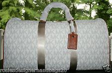 BNWT-Michael Kors XL Signature PVC Logo Duffle Weekender Bag Vanilla/Acorn