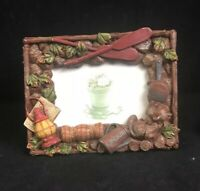"""Camping Hiking Photo Frame 3D Resin Handpainted 2.5""""x 3.5"""" Canoeing Cabin"""