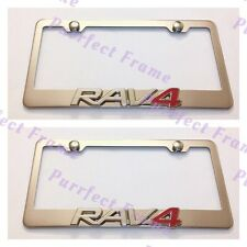 2X RAV4 3D Emblem Toyota Stainless Steel License Plate Frame Rust Free W/ cap