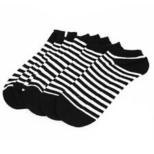 Woman Cotton Blends Strips Pattern Stretchy Cuff Short Socks 3 Pairs