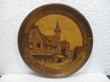 Ancien tableau marqueté, paysage en marqueterie Alsacien signé Clauss