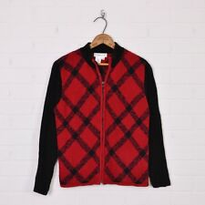 Coldwater Creek Christmas Red Black Plaid Chenille Zip Up Cardigan Sweater Top S