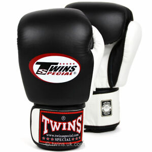Twins BGVL3-2T Leather Boxing Gloves Black/White Muay Thai Kick Sparring Mitts