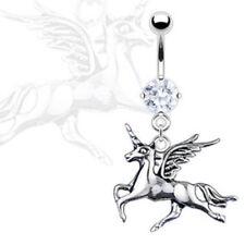 Navel Naval Fantasy Wings Horse (w833) Unicorn Dangle Cz Gem Belly Ring Pierced