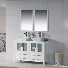 """BLOSSOM 48"""" SYDNEY DOUBLE SINK BATHROOM VANITY WITH VESSEL SINKS IN GLOSSY WHITE"""
