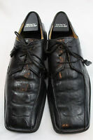 Stacy Adams Sz 9.5 BLack Leather Square Toe Lace-Up Oxfords Croc Pattern #Y-11