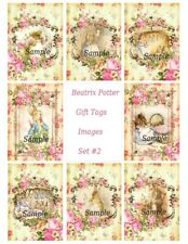 Peter Rabbit & other Beatrix Potter Characters - Floral Gift Tag Craft style #2
