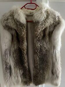 Coyote Pelz Weste mit Weiß-Fuchs Echt-Pelz Vintage