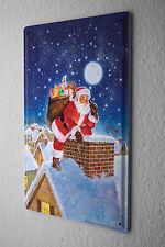 Tin Sign Christmas Retro Santa Claus chimney roofs