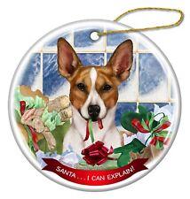Tan and White Rat Terrier Dog Porcelain Ornament 'Santa. I Can Explain!'
