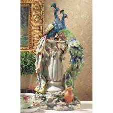 Regal Pair Peacock Perched on Urn Statue Elegant Birds Sculpture