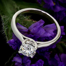 Solitaire 4 Prong .51 Carat Round Diamond H/SI1 Engagement Ring 14K White Gold