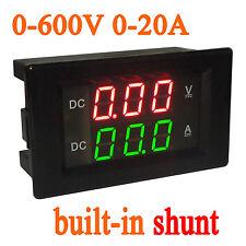 DC 0-600V 20A Shunt Voltage Current Meter Digital LED Voltmeter Ammeter 12V 24V