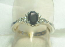 .91 ct Natural Black Sapphire & Topaz Ring Platinum /.925 Size 7