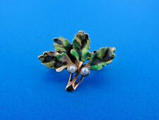 LOVELY 14k Yellow Gold, Enamel & Pearl Leaf Pin Miniature & Watch Holder
