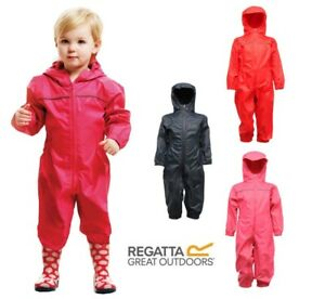 Regatta Kids Rain Suit Puddle Paddle Boys Girls All in One Splash Waterproof