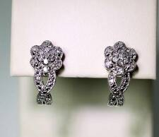 "New with Tags Sterling Silver 1/4tcw Diamond Accent J-Hoop Earrings .75"" - 6297"