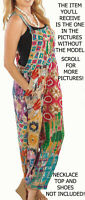 Nwt SACRED THREAD funky patch hippy boho rayon OVERALLS JUMPER JUMPSUIT ROMPER M