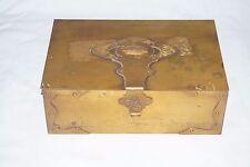 VTG Cedar Brass Humidor Cigar Box Lidded Tobacco Case Elephant Bradley Hubbard?