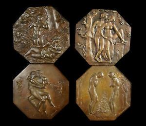Médailles Paul BELMONDO allégorie 4 saisons homme & femme nus 17cm num /75 1975