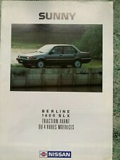 Catalogue brochure Katalog Prospekt NISSAN SUNNY 10 PAGES ANNEE 1988