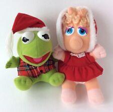 1987 Plush Christmas Baby Miss Piggy and Kermit Jim Hensen Muppets Sesame Street