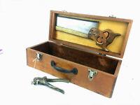Vintage Wooden Carpenter Tool Box Rare OLDHAM SONS Tenon Saw Set Eclipse No 77