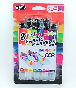 Tulip Watercolor Fabric Markers - 8 Rainbow Colors - Includes Dropper