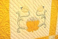 ANTIQUE  WATER LILY QUILT RICH GOLD SOFT SATEEN MATERIAL 1930/40s