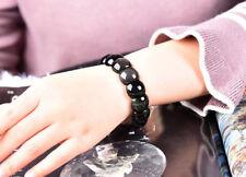 Natural Black Obsidian Rainbow Eyes Stones Women's Bead Fashion Bracelet T50