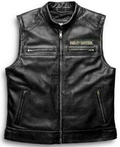 Harley Davidson Genuine Cow Black Leather Biker Vest Men Motorcycle Café Racer